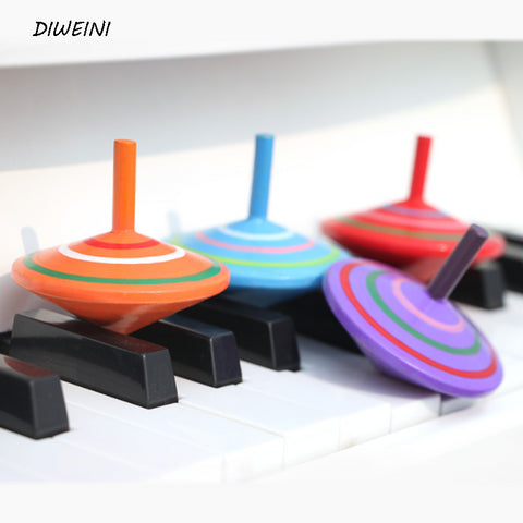 Retro classic colorful wooden spinning tops toys