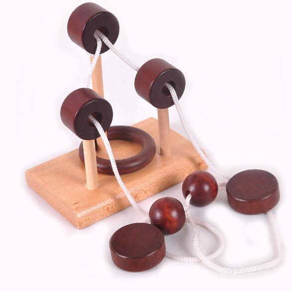 Desk Novelty 3D Wooden Rope Loop Puzzle