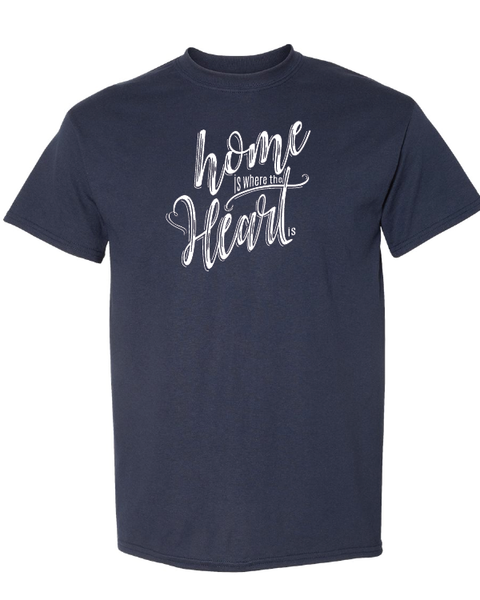 Home is Where the Heart Is Tshirts Heather Navy