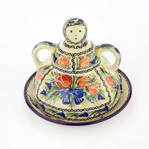 Handmade Ceramic Tulips Cheese Lady - Gifts by Kasia