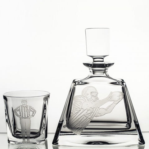 Football Engraved Crystal Whiskey Decanter Set - Gifts by Kasia - 1