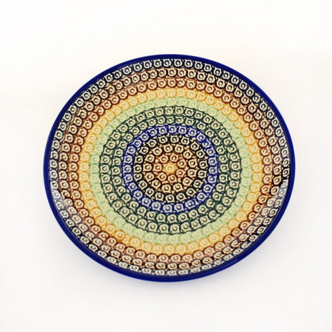 Handmade Ceramic Rainbow Circles Dessert or Salad Plate - Gifts by Kasia