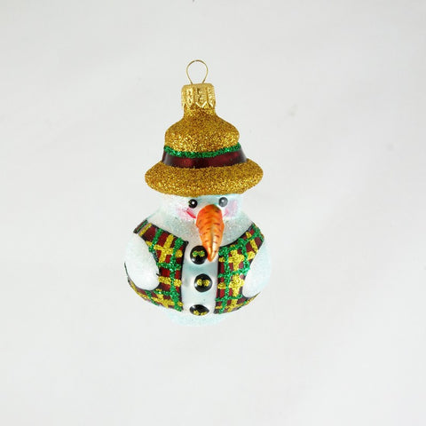 Snowman with Colorful Vest and Large Carrot Nose Christmas Ornament - www.giftsbykasia.com - 1