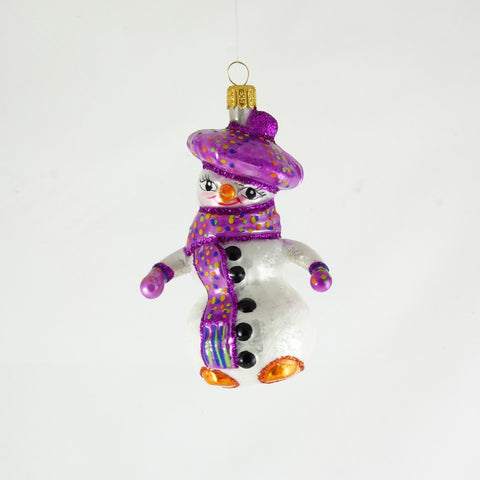 Snowman with purple hat and scarf Ornament - www.giftsbykasia.com - 1