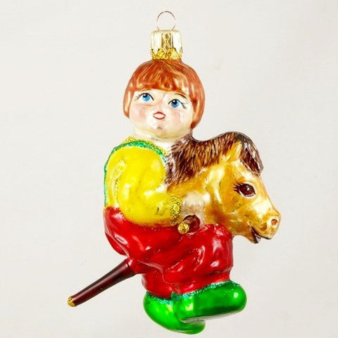 Boy on Stick Horse Christmas Ornament - www.giftsbykasia.com - 1