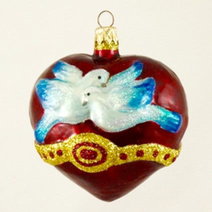 Heart with Wedded Doves Christmas Ornament - www.giftsbykasia.com - 1