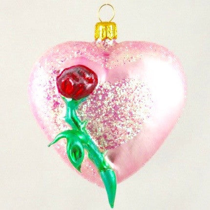 Pink Heart with Red Rose Christmas Ornament - www.giftsbykasia.com - 1