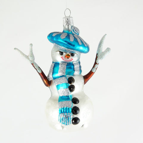 Snowman with Blue Hat, Scarf and Twig Arms Christrmas Ornament - www.giftsbykasia.com - 1