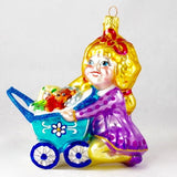 Girl with Stroller and Toys Christmas Ornament - www.giftsbykasia.com - 1