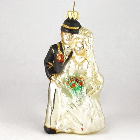 Wedding Couple with Groom in Black Tux and Hat Christmas Ornament - www.giftsbykasia.com - 1