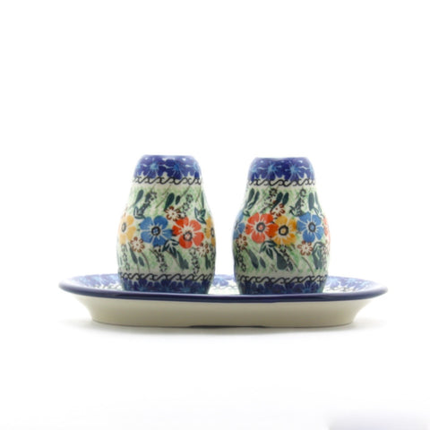 Handmade Ceramic Red Yellow Blue Flower Salt and Pepper Set - Gifts by Kasia - 1