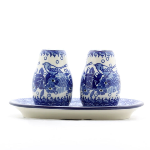 Handmade Ceramic Blue Birds Salt and Pepper Set - Gifts by Kasia - 1