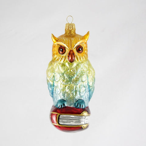Owl Sitting on a Book Christmas Ornament - www.giftsbykasia.com - 1