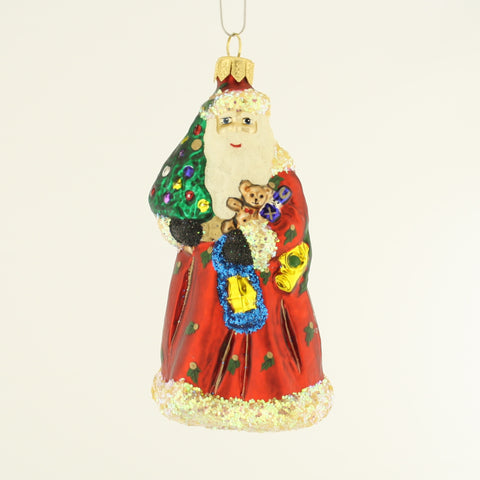 Santa with Gifts and Tree Christmas Ornament - www.giftsbykasia.com - 1