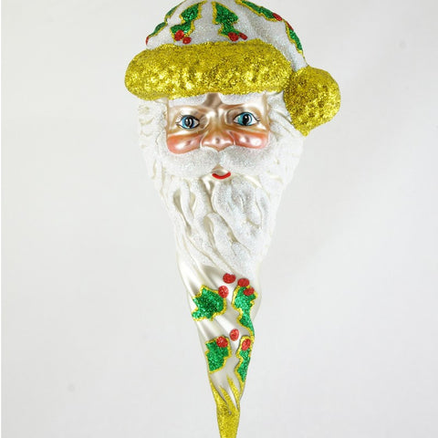 Icicle Santa Head with Holly Christmas Ornament - www.giftsbykasia.com - 1