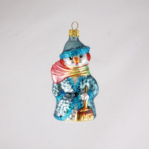 Snowman with Rainbow Scarf and Blue Coat and Hat Christmas Ornament - www.giftsbykasia.com - 1
