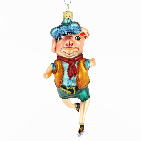 Pig on Skates Christmas Ornament - www.giftsbykasia.com - 1