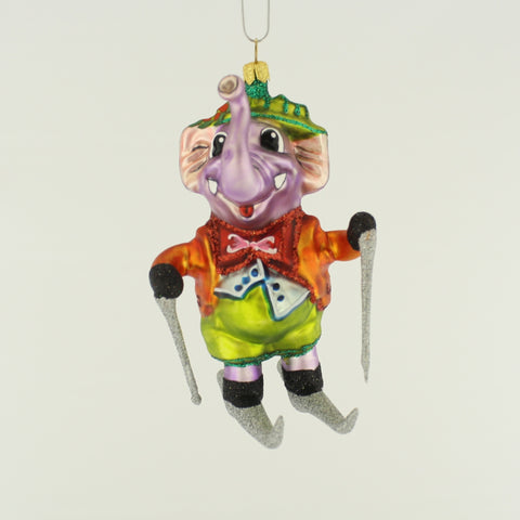 Elephant on Skis Christmas Ornament - www.giftsbykasia.com - 1