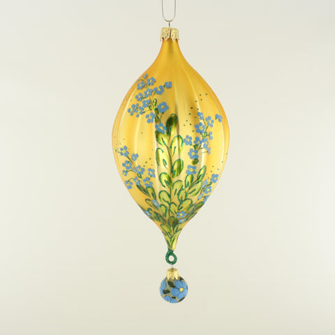 Golden Oval with Forget-me-not Flowers - www.giftsbykasia.com - 1