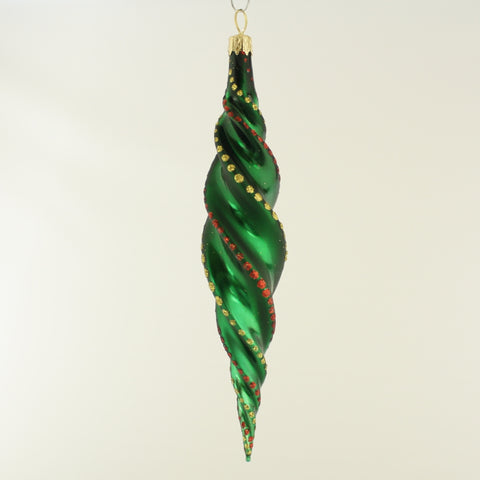 Long Twisted Green Icicle Christmas Tree Ornament - www.giftsbykasia.com - 1