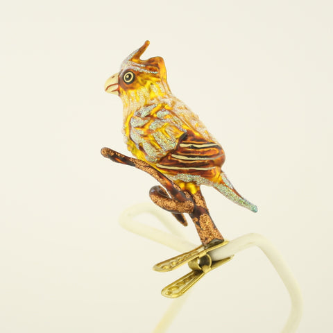 Brown and Yellow Bird on Branch clip Christmas Ornament - www.giftsbykasia.com - 1