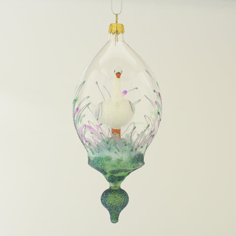 White Swan Dome Christmas Ornament - www.giftsbykasia.com - 1