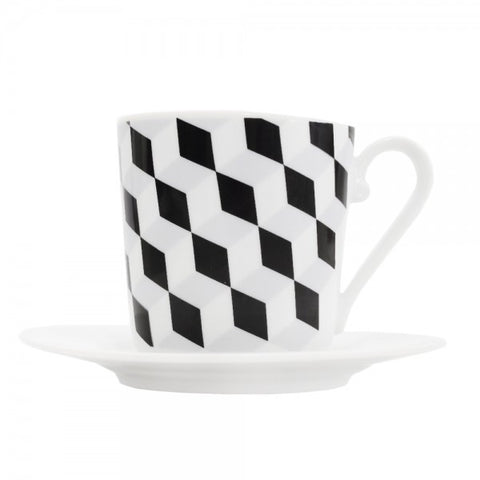 Cup and Saucer Black Diamond Pattern  Mix-N-Match - Gifts by Kasia - 1