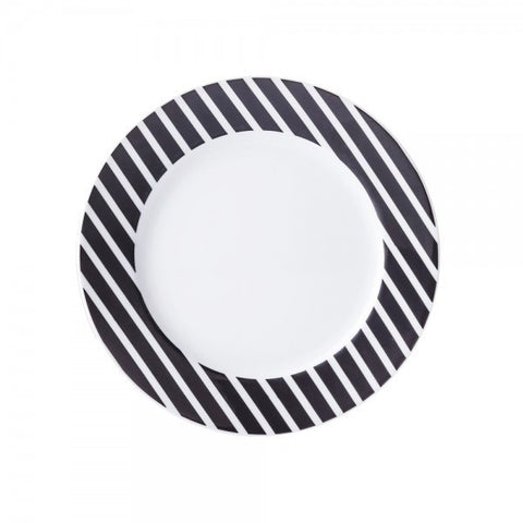 Salad Plate Black Stripes Pattern  Mix-N-Match - Gifts by Kasia