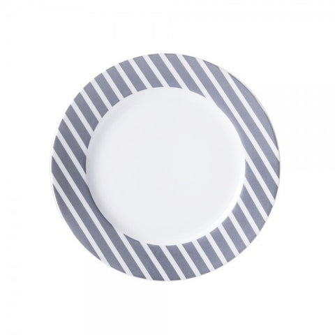Salad Plate Gray Stripes Pattern  Mix-N-Match - Gifts by Kasia