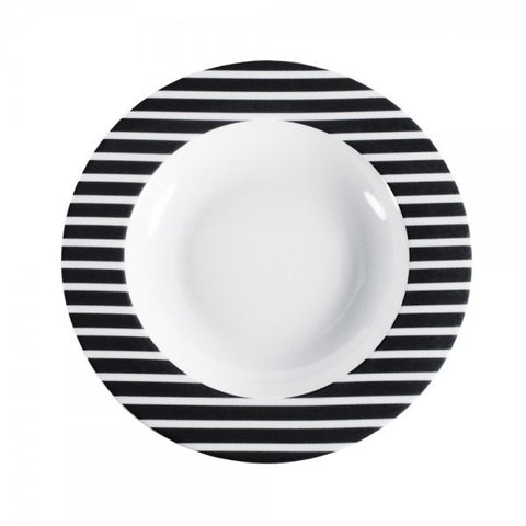 Pasta Bowl Black Stripes Pattern  Mix-N-Match - Gifts by Kasia
