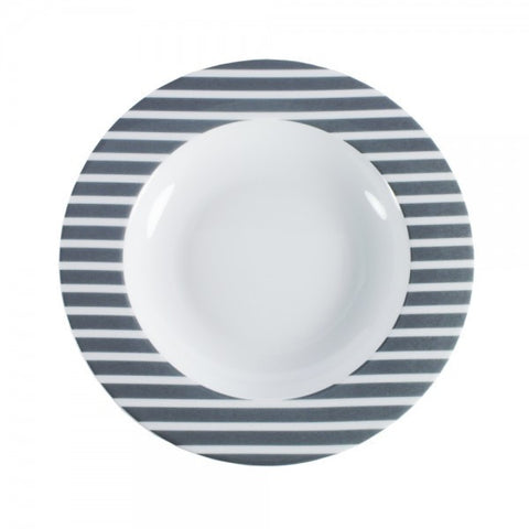 Pasta Bowl Gray Stripes Pattern   Mix-N-Match - Gifts by Kasia