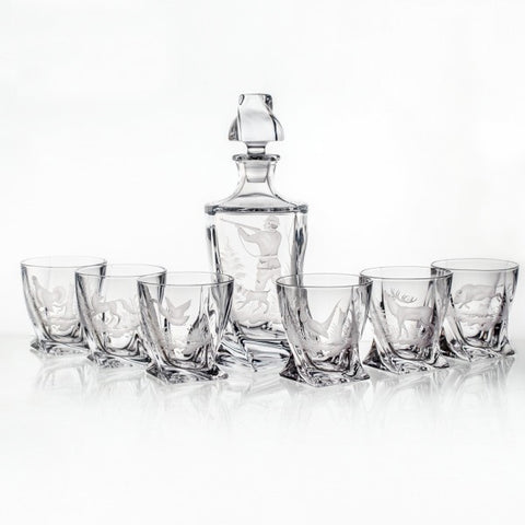 Twisted Crystal Whiskey Decanter Set with Hunting Engravings - Gifts by Kasia - 1