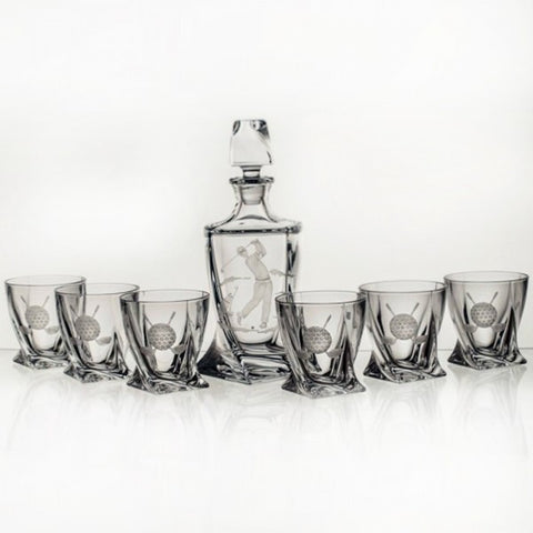 Twisted Crystal Whiskey Decanter Set with Golfing Engravings - Gifts by Kasia - 1