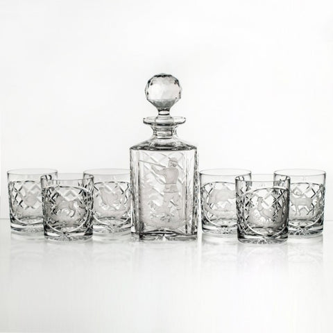 Hunting Engraved Classic Crystal Whiskey Decanter Set - Gifts by Kasia - 1