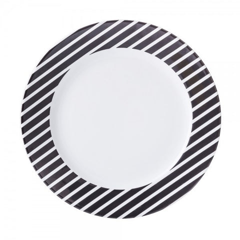 Dinner Plate Black Stripes Pattern  Mix-N-Match - Gifts by Kasia - 1