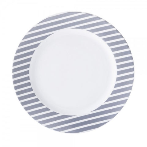 Dinner Plate Gray Stripes Pattern   Mix-N-Match - Gifts by Kasia - 1