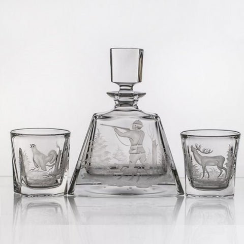 Crystal Whiskey Decanter Set with Hunting - Gifts by Kasia - 1