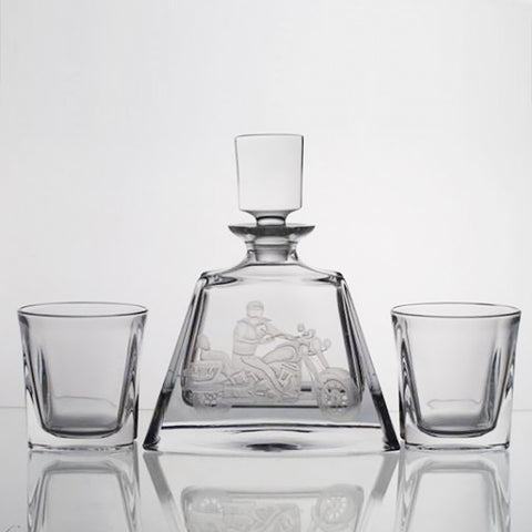 Crystal Whiskey Decanter Set with Motorcycle Engraving - Gifts by Kasia