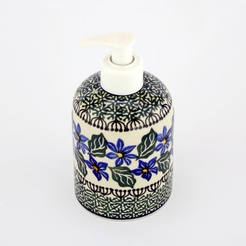 Handmade Ceramic Blue Flower and Green Soap Dispenser - Gifts by Kasia