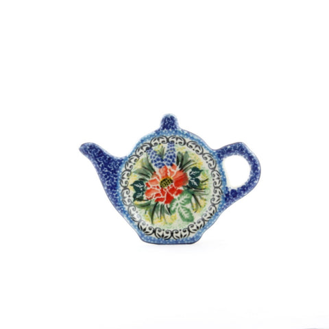 Handmade Ceramic Red Flower Tea Pot Shaped Tray - Gifts by Kasia - 1