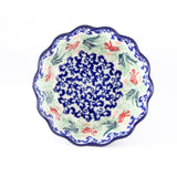 Handmade Ceramic Fluted Bowl With Blue Red and Greenery. - Gifts by Kasia - 1