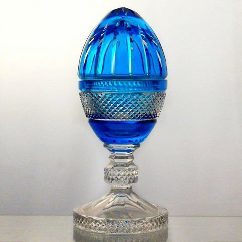 Candy Dish Crystal Egg Aqua Blue Raised - Gifts by Kasia