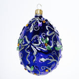 Blue with White Ribbon Egg Ornament - Gifts by Kasia - 2