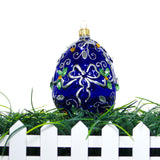 Blue with White Ribbon Egg Ornament - Gifts by Kasia - 5
