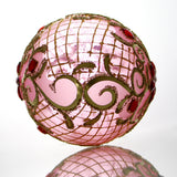 Pink with Gold Trim and Red Gems Egg Christmas or Easter Ornament - Gifts by Kasia - 3