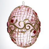 Pink with Gold Trim and Red Gems Egg Christmas or Easter Ornament - Gifts by Kasia - 2