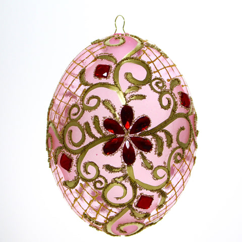 Pink with Gold Trim and Red Gems Egg Christmas or Easter Ornament - Gifts by Kasia - 1