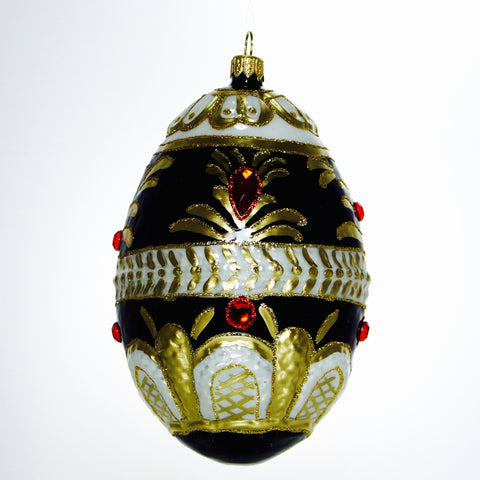 Black Gold and Red Gems Egg  Ornament - Gifts by Kasia - 1
