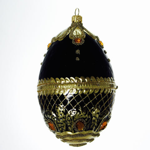 Black and gold egg Ornament - Gifts by Kasia - 1