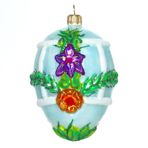 Blue Egg with Purple Flower Ornament - Gifts by Kasia - 1